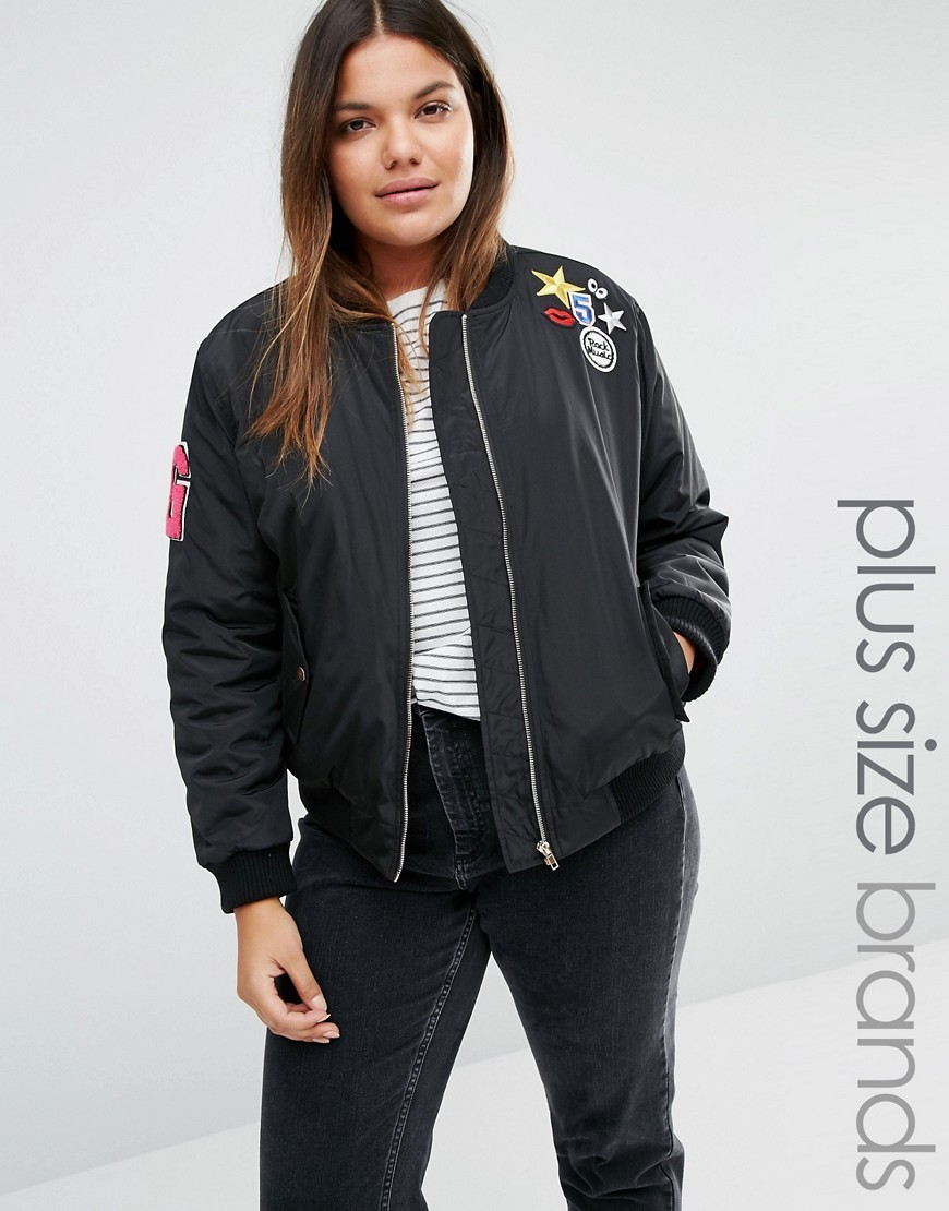 Bomber Jacket With Badge Detail Black - pattern: plain; collar: round collar/collarless; style: bomber; secondary colour: pink; predominant colour: black; occasions: casual, creative work; length: standard; fit: straight cut (boxy); fibres: polyester/polyamide - 100%; sleeve length: long sleeve; sleeve style: standard; collar break: high; pattern type: fabric; texture group: other - light to midweight; embellishment: applique; season: s/s 2016; wardrobe: highlight