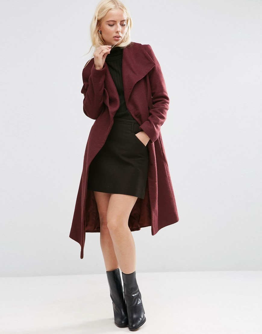 Waterfall Trapeze Coat In Wool Blend Berry - pattern: plain; collar: wide lapels; style: single breasted; length: on the knee; predominant colour: burgundy; occasions: casual, creative work; fit: tailored/fitted; fibres: wool - mix; sleeve length: long sleeve; sleeve style: standard; collar break: low/open; pattern type: fabric; texture group: woven bulky/heavy; season: s/s 2016; wardrobe: highlight