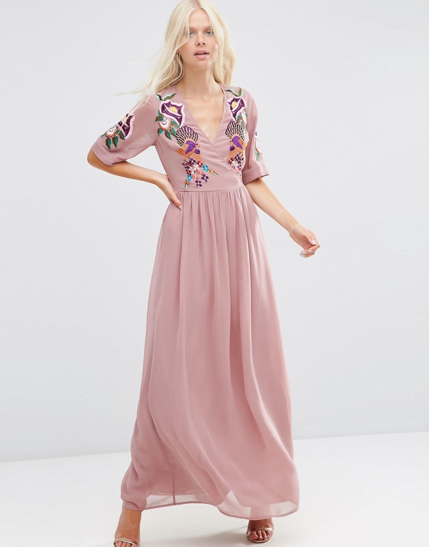 Premium Wrap Maxi Dress With Embroidered Peacock And Flower Detail Pink - neckline: low v-neck; style: maxi dress; length: ankle length; predominant colour: pink; occasions: evening; fit: body skimming; fibres: polyester/polyamide - 100%; sleeve length: half sleeve; sleeve style: standard; texture group: sheer fabrics/chiffon/organza etc.; pattern type: fabric; pattern: florals; embellishment: embroidered; season: s/s 2016; wardrobe: event; embellishment location: bust, sleeve/cuff