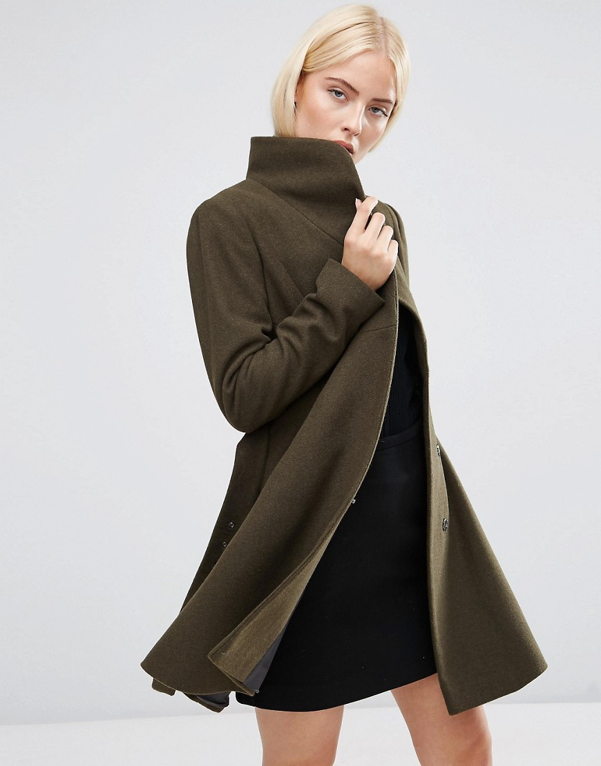 Skater Coat With Funnel Neck Khaki - pattern: plain; collar: funnel; fit: loose; style: single breasted; length: mid thigh; predominant colour: khaki; occasions: casual; fibres: cotton - stretch; sleeve length: long sleeve; sleeve style: standard; collar break: high; pattern type: fabric; texture group: woven bulky/heavy; season: s/s 2016; wardrobe: basic