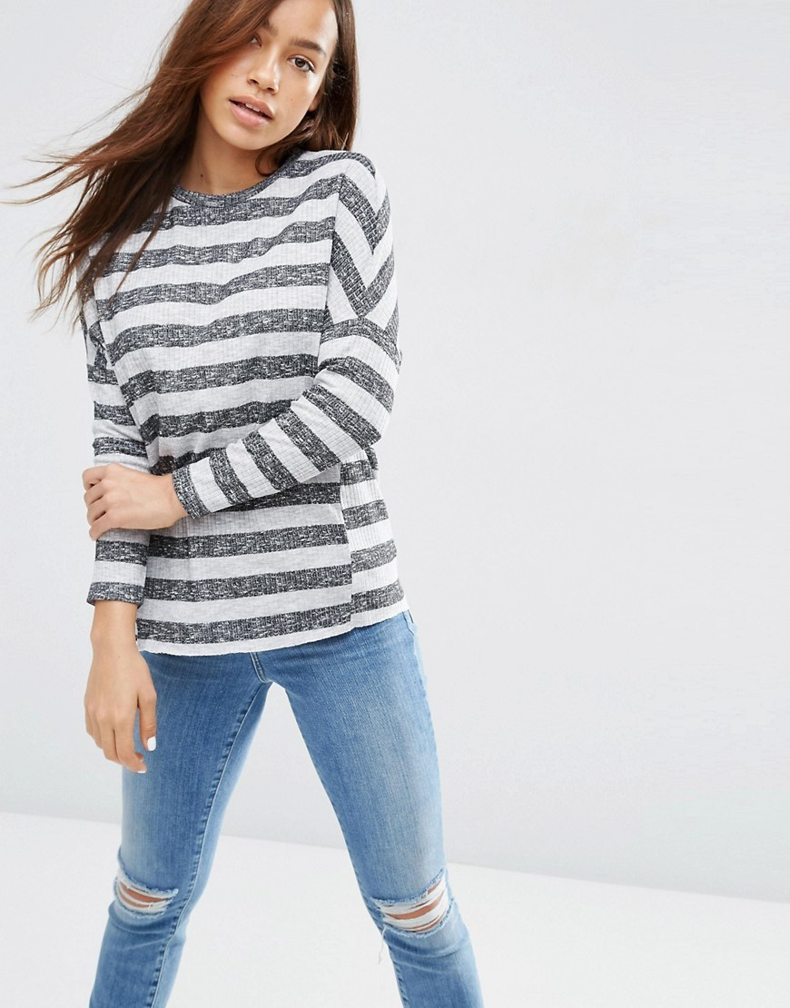 Top In Textured Stripe Rib Charcoal Grey - neckline: round neck; pattern: horizontal stripes; predominant colour: mid grey; secondary colour: mid grey; occasions: casual, creative work; length: standard; style: top; fibres: polyester/polyamide - mix; fit: loose; sleeve length: long sleeve; sleeve style: standard; pattern type: fabric; pattern size: standard; texture group: jersey - stretchy/drapey; season: s/s 2016; wardrobe: basic