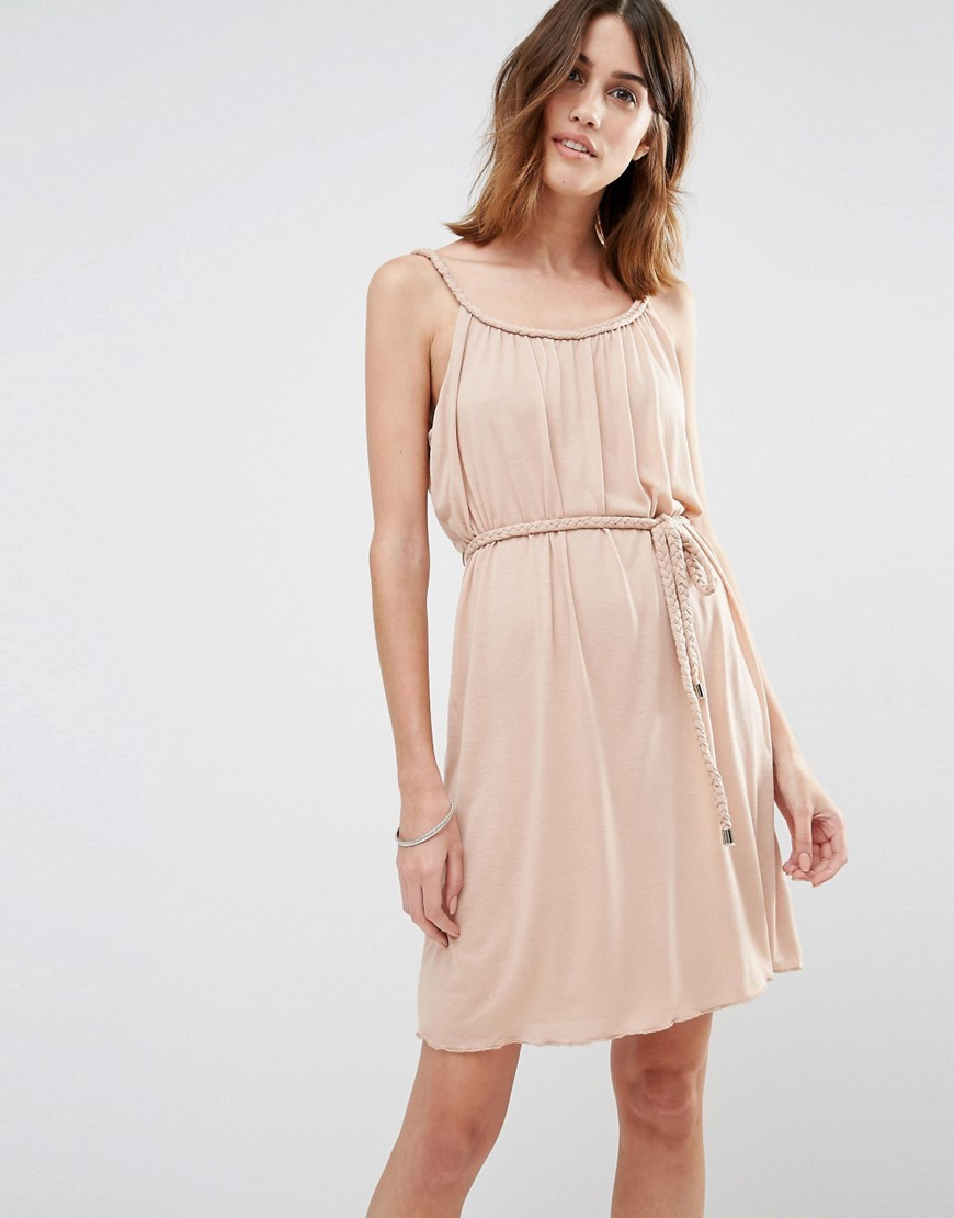 Tie Waist Cami Dress Rugby Tan - neckline: round neck; sleeve style: spaghetti straps; pattern: plain; style: vest; waist detail: belted waist/tie at waist/drawstring; predominant colour: blush; occasions: casual; length: just above the knee; fit: body skimming; sleeve length: sleeveless; pattern type: fabric; texture group: other - light to midweight; fibres: viscose/rayon - mix; season: s/s 2016