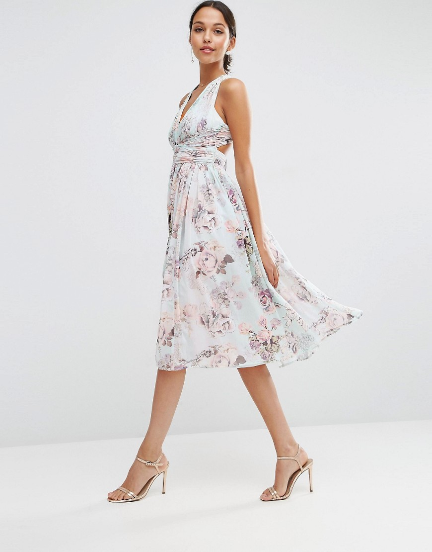 Wedding Hollywood Midi Dress In Soft Rose Print Multi - length: below the knee; neckline: low v-neck; sleeve style: sleeveless; style: sundress; predominant colour: white; secondary colour: blush; occasions: evening; fit: body skimming; fibres: polyester/polyamide - 100%; sleeve length: sleeveless; texture group: sheer fabrics/chiffon/organza etc.; pattern type: fabric; pattern: florals; multicoloured: multicoloured; season: s/s 2016; wardrobe: event