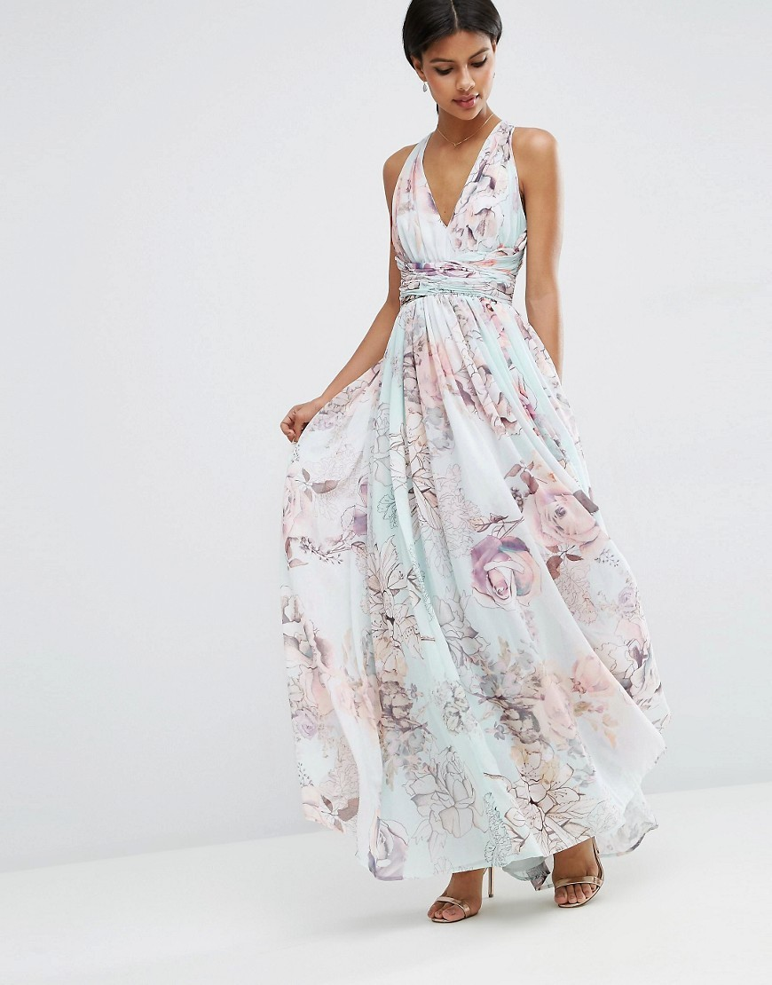 Wedding Hollywood Maxi Dress In Soft Rose Print Multi - neckline: low v-neck; sleeve style: sleeveless; style: maxi dress; secondary colour: blush; predominant colour: pale blue; occasions: evening; length: floor length; fit: body skimming; fibres: polyester/polyamide - 100%; sleeve length: sleeveless; texture group: sheer fabrics/chiffon/organza etc.; pattern type: fabric; pattern size: big & busy; pattern: florals; multicoloured: multicoloured; season: s/s 2016; wardrobe: event