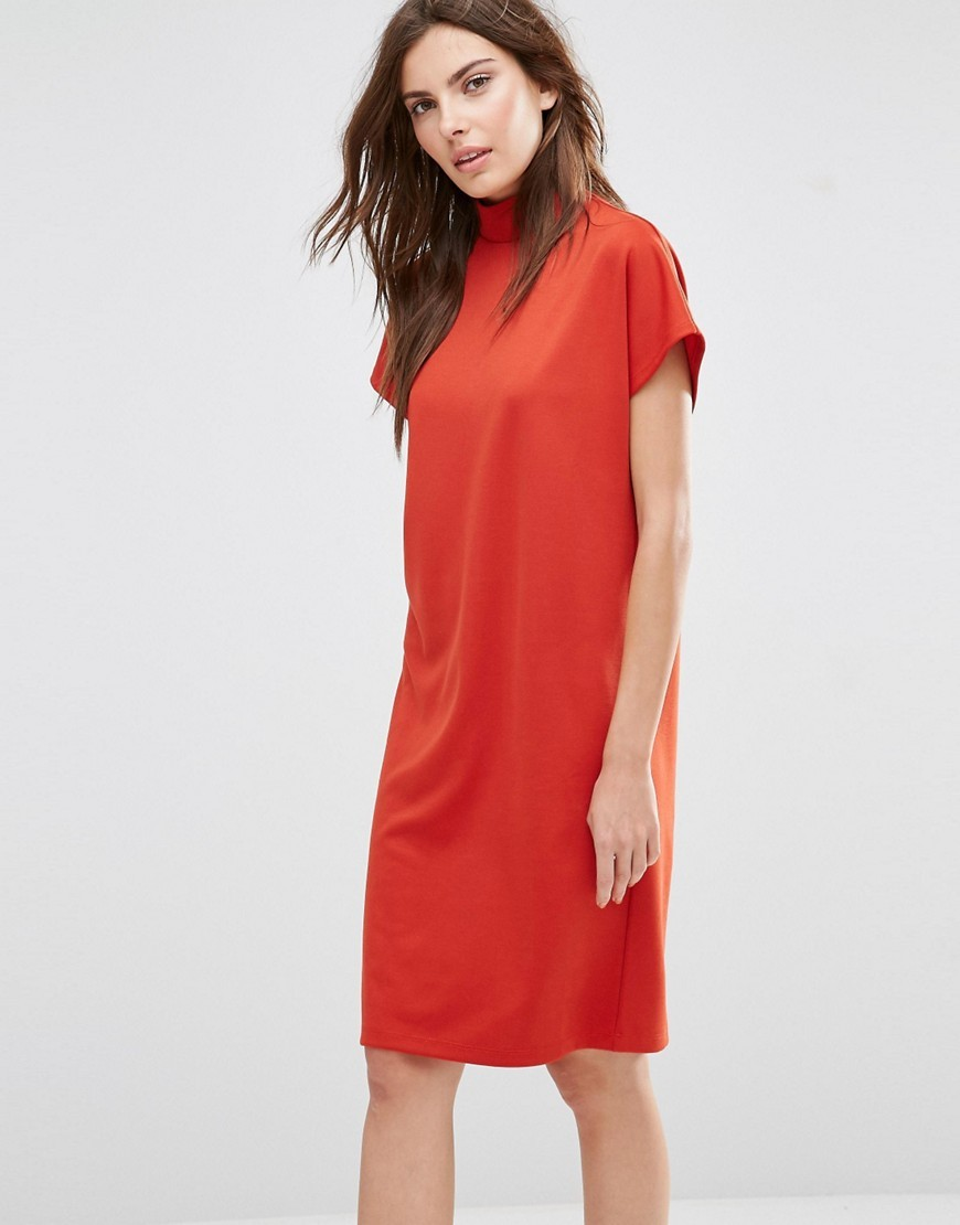 High Neck Oversized T Shirt Dress Ketchup - style: shift; pattern: plain; neckline: high neck; predominant colour: bright orange; occasions: evening; length: on the knee; fit: body skimming; fibres: cotton - mix; sleeve length: short sleeve; sleeve style: standard; pattern type: fabric; texture group: other - light to midweight; season: s/s 2016; wardrobe: event