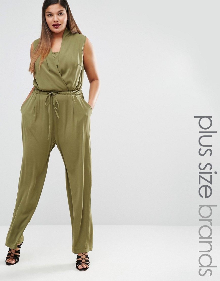 Sleeveless Wide Leg Jumpsuit Green - length: standard; neckline: v-neck; pattern: plain; sleeve style: sleeveless; waist detail: belted waist/tie at waist/drawstring; predominant colour: khaki; occasions: evening; fit: body skimming; fibres: polyester/polyamide - 100%; sleeve length: sleeveless; style: jumpsuit; pattern type: fabric; texture group: jersey - stretchy/drapey; season: s/s 2016