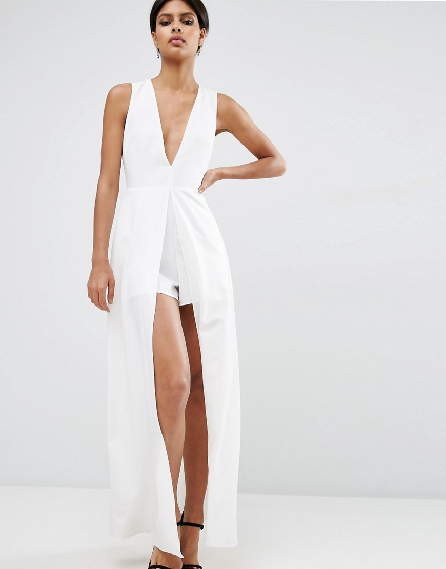 Maxi Plunge Playsuit Ivory - neckline: v-neck; pattern: plain; sleeve style: sleeveless; length: short shorts; predominant colour: white; occasions: evening; fit: body skimming; fibres: polyester/polyamide - stretch; hip detail: adds bulk at the hips; sleeve length: sleeveless; style: playsuit; pattern type: fabric; texture group: jersey - stretchy/drapey; season: s/s 2016; wardrobe: event