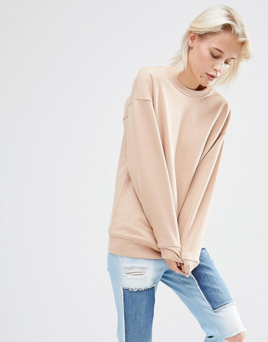 Ultimate Oversized Sweat Nude - neckline: round neck; pattern: plain; style: sweat top; predominant colour: nude; occasions: casual, creative work; length: standard; fibres: cotton - 100%; fit: loose; sleeve length: long sleeve; sleeve style: standard; pattern type: fabric; texture group: jersey - stretchy/drapey; season: s/s 2016; wardrobe: basic