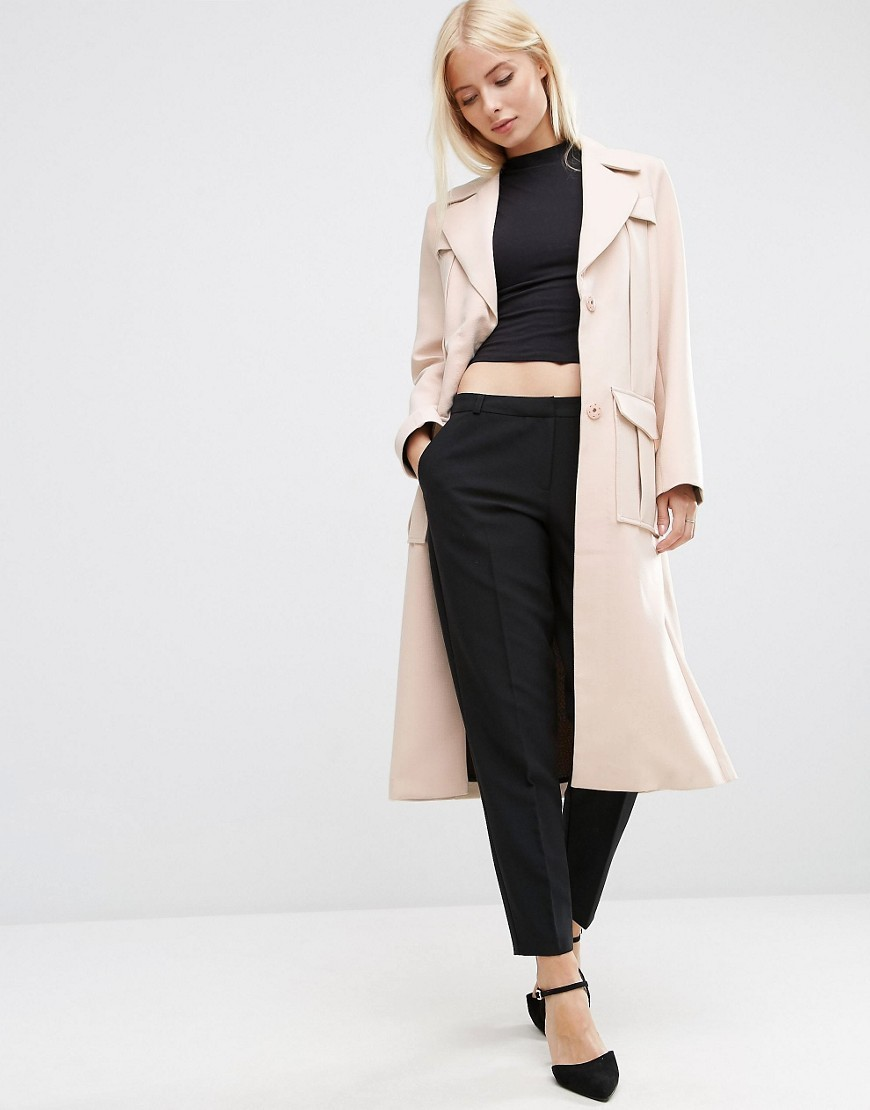 Bonded Trench In Midi Length With Belt Loop Detail Nude - pattern: plain; style: trench coat; length: on the knee; collar: standard lapel/rever collar; predominant colour: blush; fit: tailored/fitted; fibres: polyester/polyamide - 100%; sleeve length: long sleeve; sleeve style: standard; collar break: medium; pattern type: fabric; texture group: other - light to midweight; occasions: creative work; season: s/s 2016; wardrobe: investment