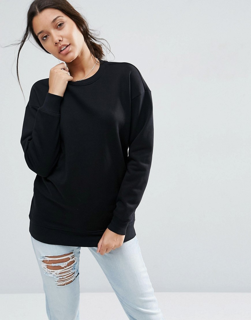 Ultimate Oversized Sweat Black - neckline: round neck; pattern: plain; length: below the bottom; style: sweat top; predominant colour: black; occasions: casual; fibres: cotton - 100%; fit: loose; sleeve length: long sleeve; sleeve style: standard; pattern type: fabric; texture group: jersey - stretchy/drapey; season: s/s 2016; wardrobe: basic