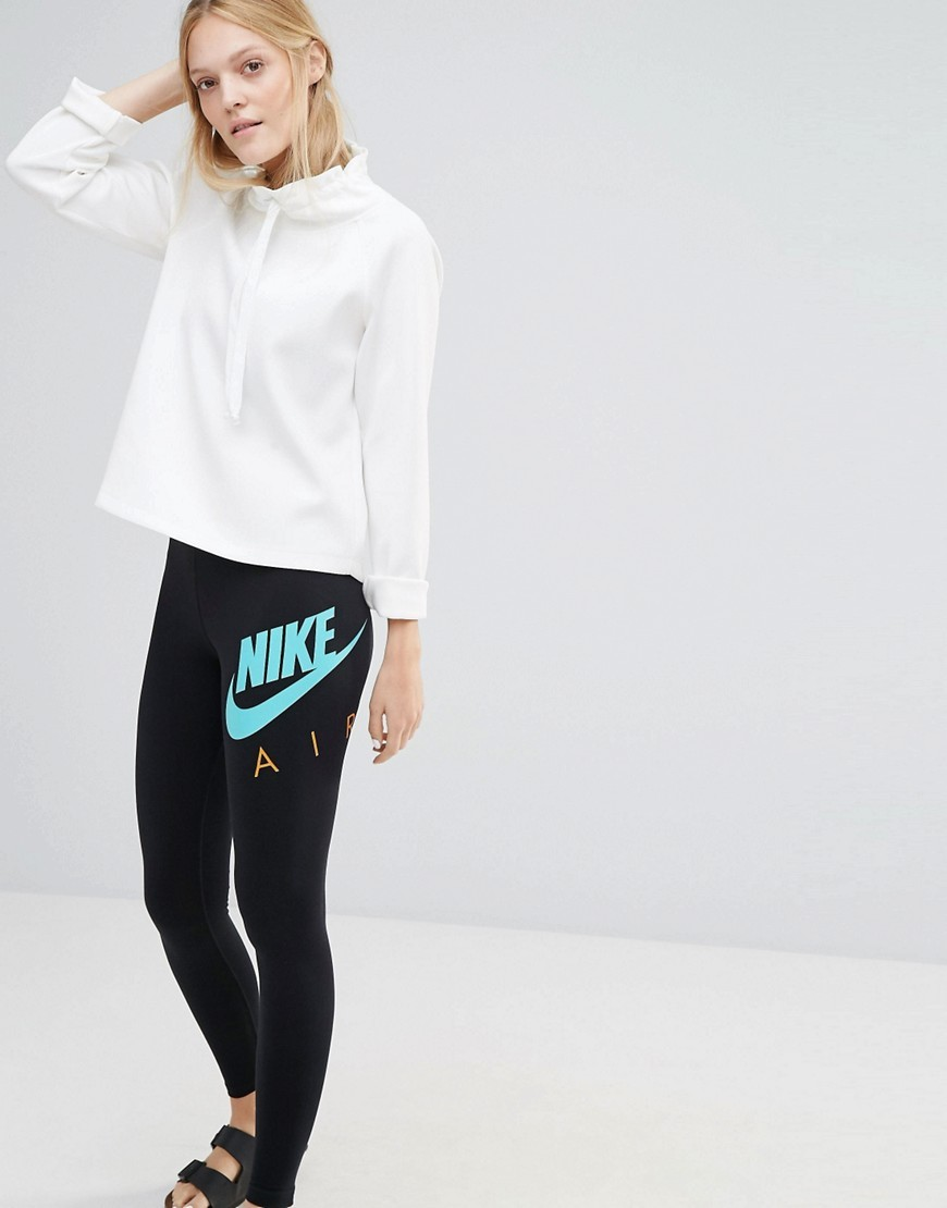 Air Swoosh Leggings Black/(Hyper Jade) - length: standard; style: leggings; hip detail: draws attention to hips; waist: mid/regular rise; secondary colour: turquoise; predominant colour: black; occasions: casual; fibres: cotton - stretch; texture group: jersey - clingy; fit: skinny/tight leg; pattern type: fabric; pattern: graphic/slogan; multicoloured: multicoloured; season: s/s 2016; wardrobe: highlight