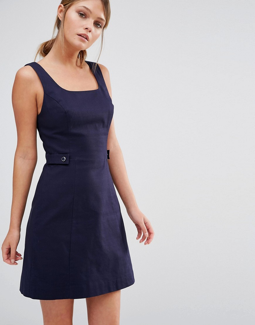 Pinafore Tab Dress Navy - style: shift; length: mid thigh; fit: tailored/fitted; pattern: plain; sleeve style: sleeveless; predominant colour: navy; occasions: evening; fibres: cotton - stretch; sleeve length: sleeveless; neckline: medium square neck; pattern type: fabric; texture group: other - light to midweight; season: s/s 2016; wardrobe: event
