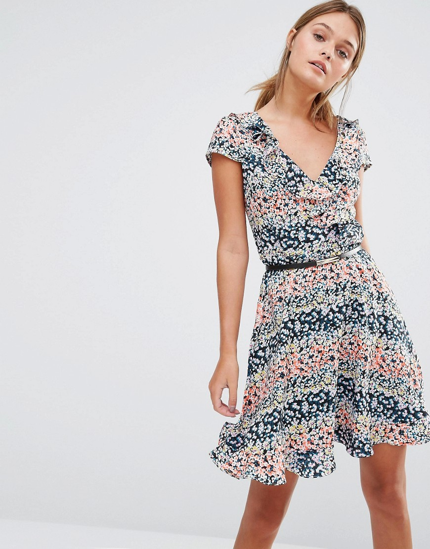 Ditsy Print Frill Dress Multi - style: faux wrap/wrap; neckline: low v-neck; waist detail: belted waist/tie at waist/drawstring; secondary colour: pink; predominant colour: navy; occasions: casual; length: just above the knee; fit: body skimming; fibres: polyester/polyamide - 100%; sleeve length: short sleeve; sleeve style: standard; pattern type: fabric; pattern: patterned/print; texture group: jersey - stretchy/drapey; multicoloured: multicoloured; season: s/s 2016; wardrobe: highlight