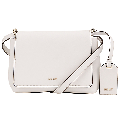Bryant Park Saffiano Leather Mini Across Body Bag - predominant colour: white; secondary colour: black; occasions: casual, creative work; type of pattern: standard; style: messenger; length: across body/long; size: small; material: leather; pattern: plain; finish: plain; season: s/s 2016; wardrobe: basic