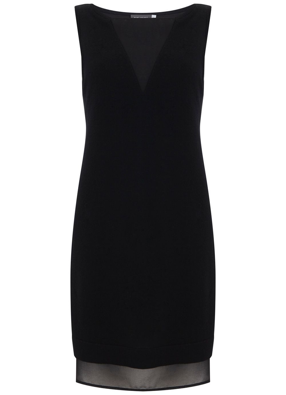 Black Double Layer Longline Tunic, Black - style: tunic; neckline: slash/boat neckline; pattern: plain; sleeve style: sleeveless; predominant colour: black; occasions: evening, occasion; length: just above the knee; fit: body skimming; fibres: wool - 100%; sleeve length: sleeveless; pattern type: fabric; texture group: other - light to midweight; season: s/s 2016; wardrobe: event