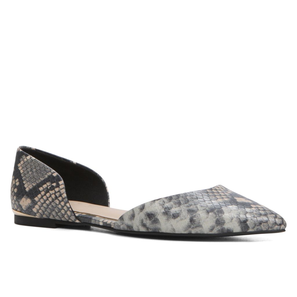 Neroli Two Piece Ballerina Shoes, Grey - predominant colour: mid grey; secondary colour: black; occasions: casual, creative work; material: faux leather; heel height: flat; toe: pointed toe; style: ballerinas / pumps; finish: plain; pattern: animal print; season: s/s 2016; wardrobe: highlight