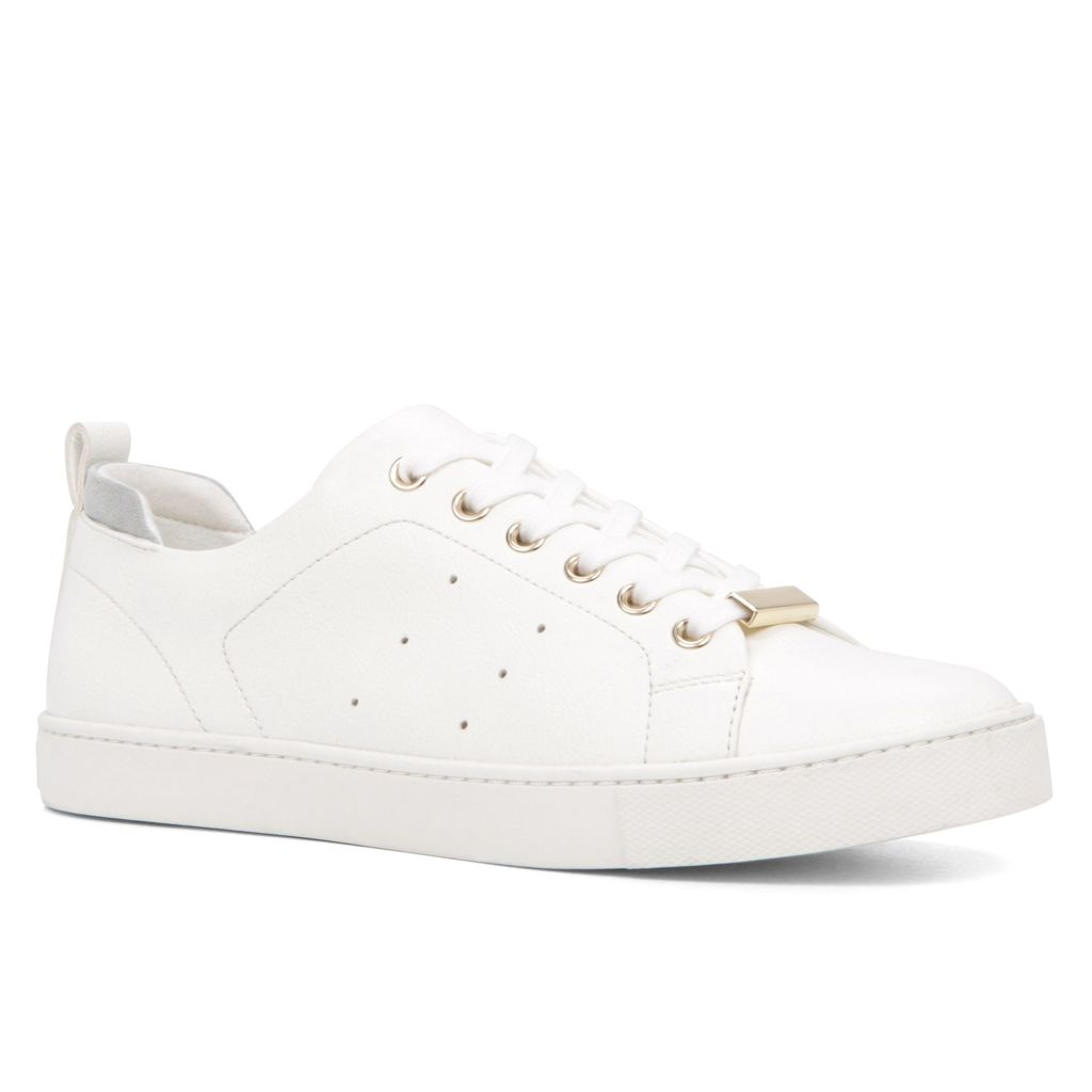 Merane Lace Up Trainers, White - predominant colour: white; occasions: casual, creative work; material: faux leather; heel height: flat; toe: round toe; style: trainers; finish: plain; pattern: plain; season: s/s 2016; wardrobe: basic