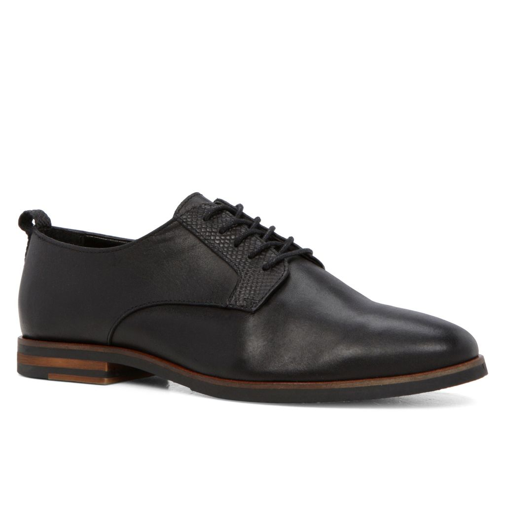 Mirelilian Oxford Lace Ups, Black - predominant colour: black; occasions: casual, creative work; material: leather; heel height: flat; toe: round toe; style: brogues; finish: plain; pattern: plain; season: s/s 2016