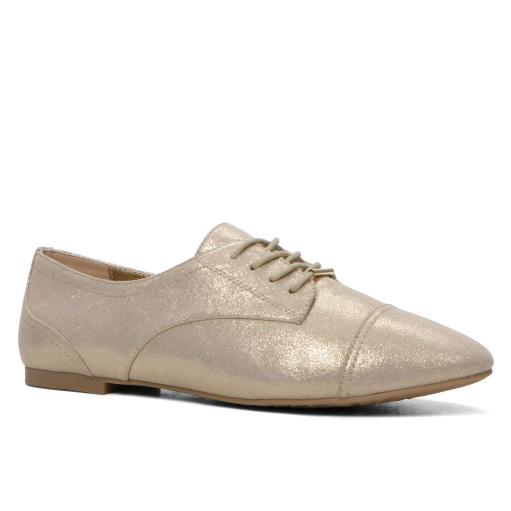 Corallo Oxford Lace Ups, Gold - predominant colour: gold; occasions: casual, creative work; material: faux leather; heel height: flat; toe: round toe; finish: metallic; pattern: plain; style: lace ups; season: s/s 2016; wardrobe: basic