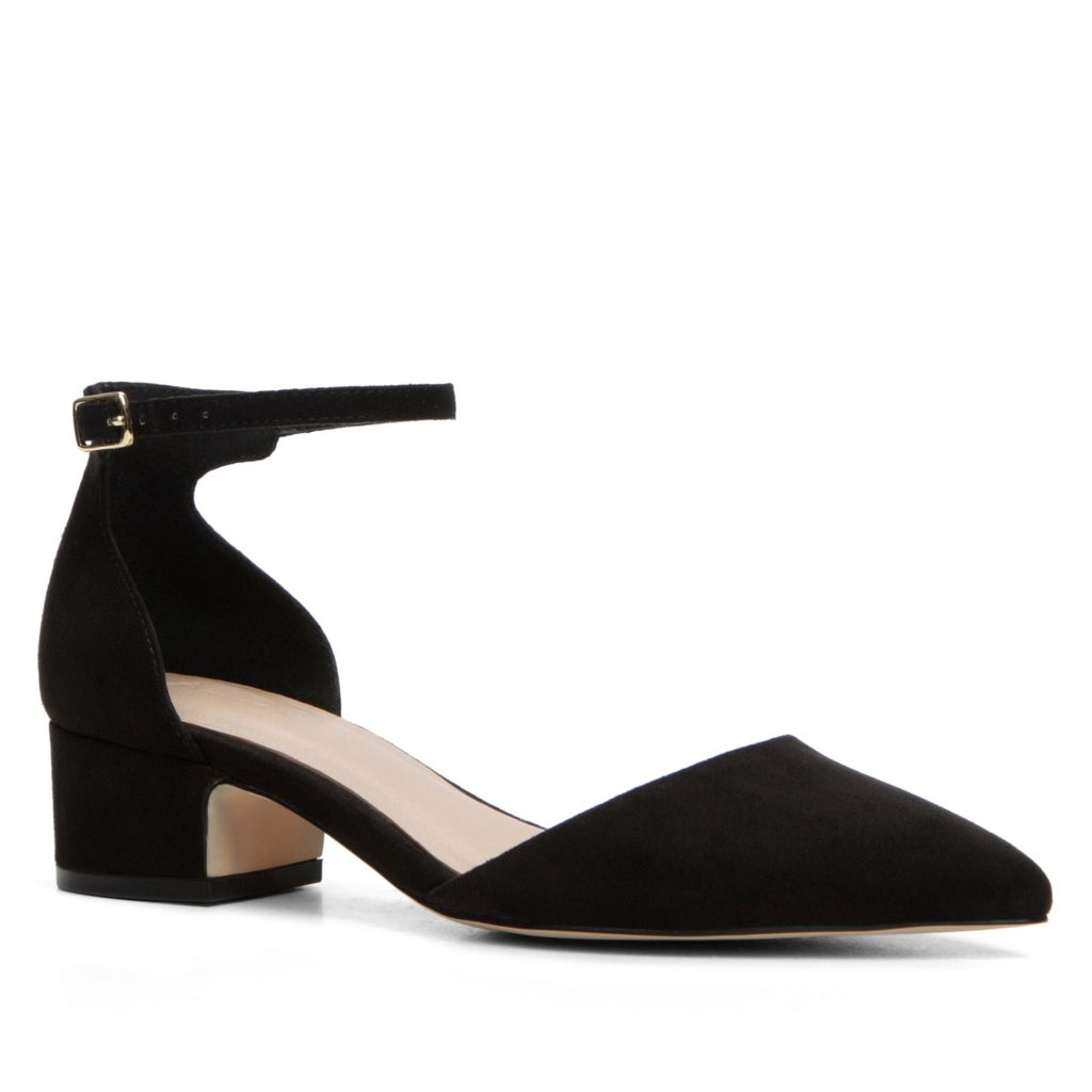 Zusien Ankle Strap Low Heel Court Shoes, Black - predominant colour: black; occasions: work, creative work; heel height: mid; ankle detail: ankle strap; heel: standard; toe: pointed toe; style: courts; finish: plain; pattern: plain; material: faux suede; season: s/s 2016; wardrobe: investment