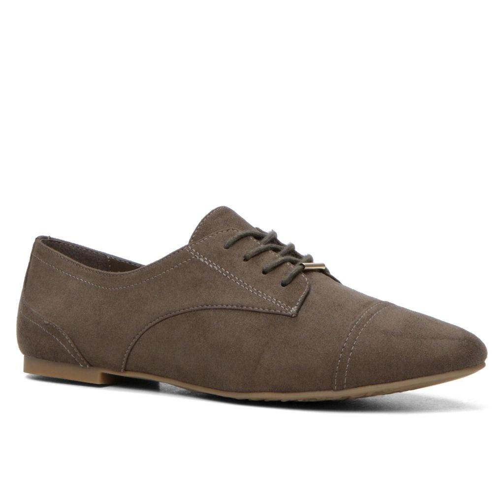 Corallo Oxford Lace Ups, Khaki - predominant colour: chocolate brown; occasions: casual, creative work; material: faux leather; heel height: flat; toe: round toe; finish: plain; pattern: plain; style: lace ups; season: s/s 2016; wardrobe: basic