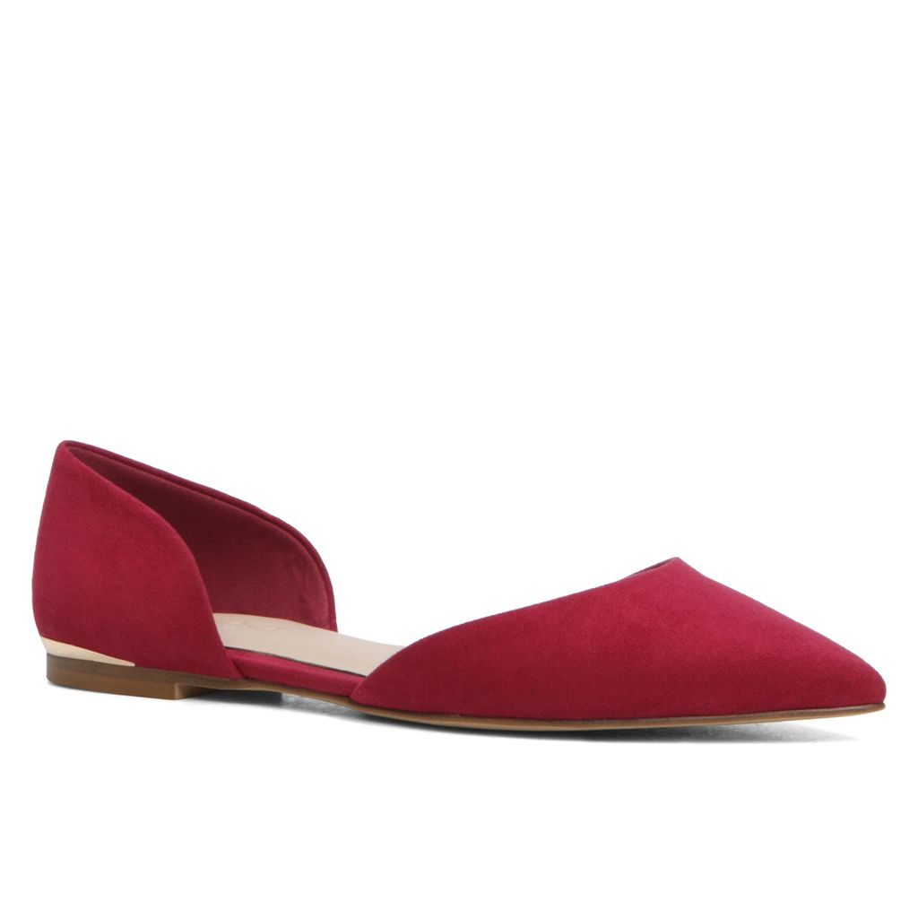 Neroli Two Piece Ballerina Shoes, Bordeaux - predominant colour: true red; occasions: casual, creative work; material: suede; heel height: flat; toe: pointed toe; style: ballerinas / pumps; finish: plain; pattern: plain; season: s/s 2016