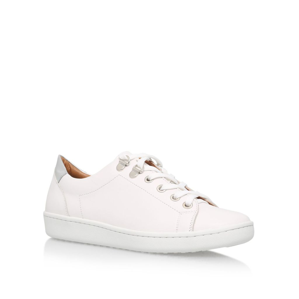 Liquid Flat Lace Up Sneakers, White - predominant colour: white; occasions: casual, activity; material: leather; heel height: flat; toe: round toe; style: trainers; finish: plain; pattern: plain; season: s/s 2016