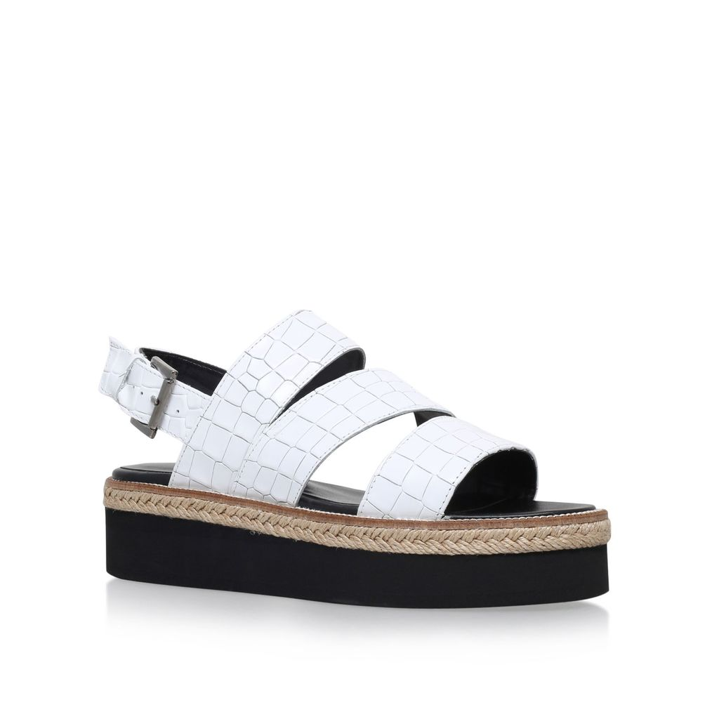 Kat Flat Sandals, White - predominant colour: white; occasions: casual, holiday; material: faux leather; heel height: flat; heel: block; toe: open toe/peeptoe; style: strappy; finish: plain; pattern: animal print; shoe detail: platform; season: s/s 2016; wardrobe: highlight