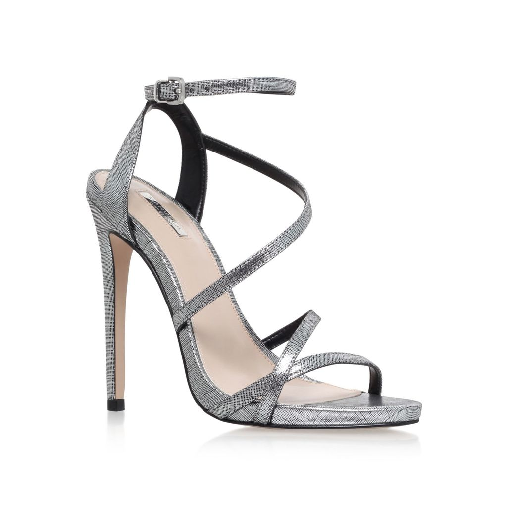 Georgia High Heel Strappy Sandals, Grey - predominant colour: silver; occasions: evening, occasion; material: leather; ankle detail: ankle strap; heel: stiletto; toe: open toe/peeptoe; style: strappy; finish: metallic; pattern: plain; heel height: very high; season: s/s 2016