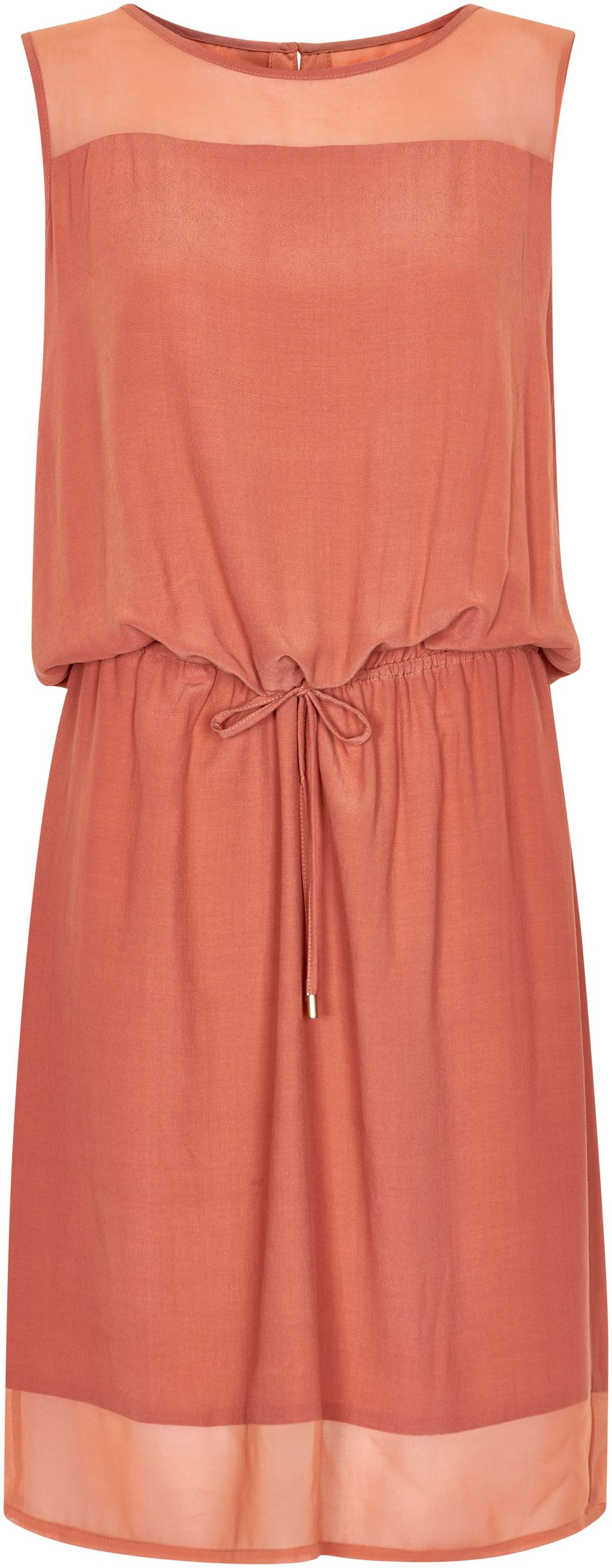 Dress With Drawstring Waist, Pink - style: shift; pattern: plain; sleeve style: sleeveless; waist detail: belted waist/tie at waist/drawstring; occasions: casual; length: just above the knee; fit: body skimming; fibres: viscose/rayon - 100%; neckline: crew; sleeve length: sleeveless; texture group: sheer fabrics/chiffon/organza etc.; pattern type: fabric; predominant colour: dusky pink; season: s/s 2016; wardrobe: highlight