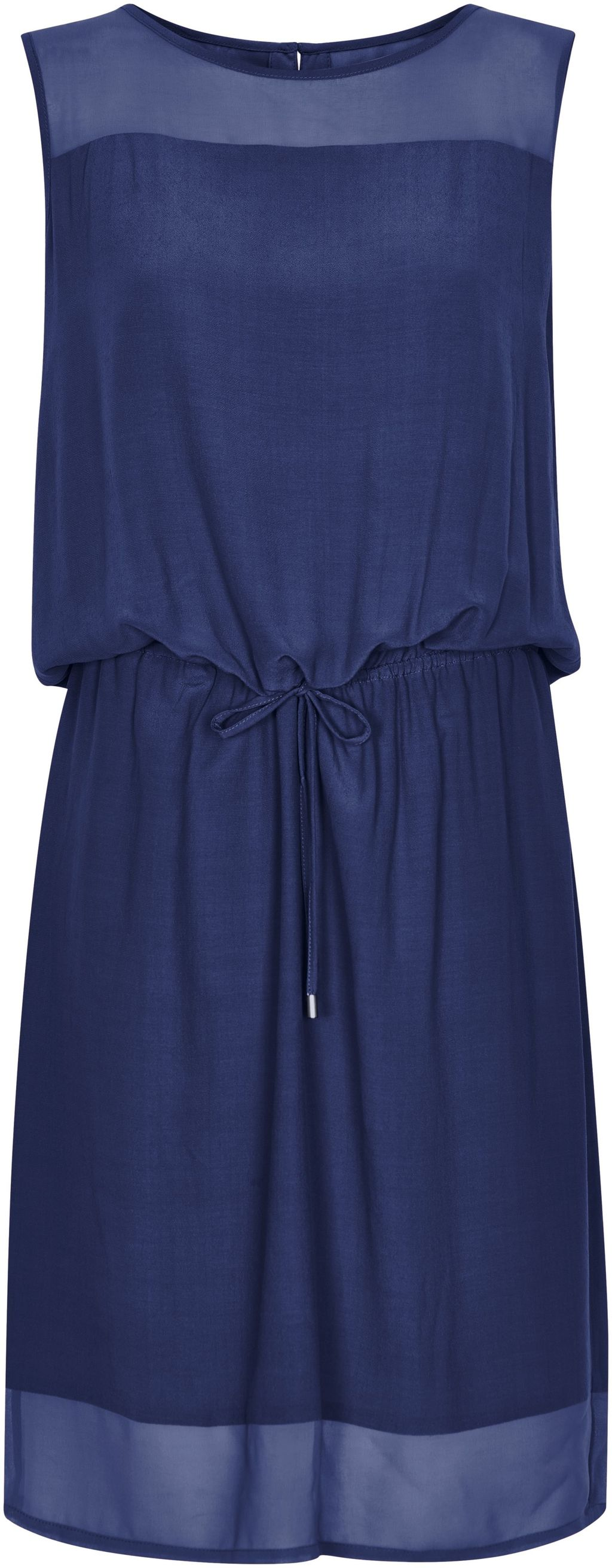 Dress With Drawstring Waist, Navy - style: shift; pattern: plain; sleeve style: sleeveless; waist detail: belted waist/tie at waist/drawstring; predominant colour: navy; occasions: casual; length: just above the knee; fit: body skimming; fibres: viscose/rayon - 100%; neckline: crew; sleeve length: sleeveless; texture group: sheer fabrics/chiffon/organza etc.; pattern type: fabric; season: s/s 2016; wardrobe: basic