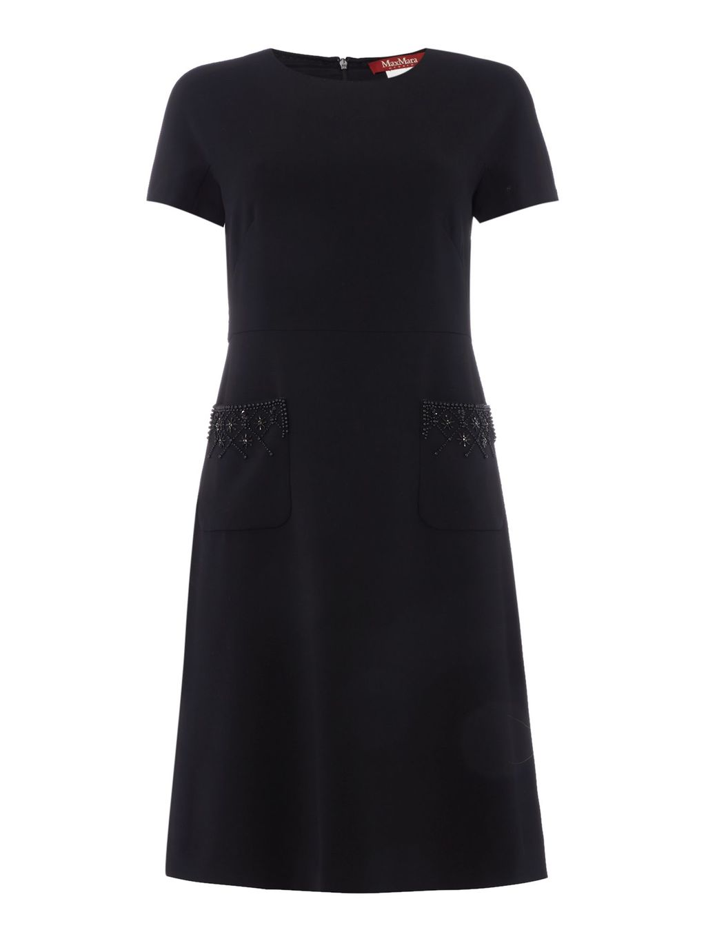 Lulu Short Sleeve Dress With Pockets, Black - style: shift; neckline: round neck; pattern: plain; predominant colour: black; occasions: casual, evening, creative work; length: just above the knee; fit: soft a-line; fibres: polyester/polyamide - mix; sleeve length: short sleeve; sleeve style: standard; pattern type: fabric; texture group: jersey - stretchy/drapey; season: s/s 2016; wardrobe: basic