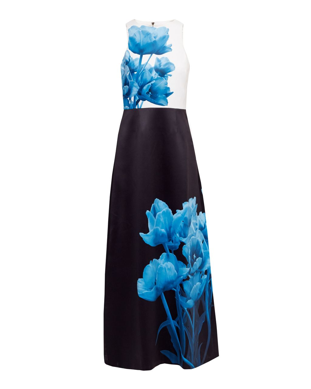 Niriah Blue Beauty Maxi Dress, Black - style: ballgown; sleeve style: sleeveless; secondary colour: diva blue; predominant colour: black; occasions: evening, occasion; length: floor length; fit: fitted at waist & bust; fibres: polyester/polyamide - 100%; neckline: crew; sleeve length: sleeveless; texture group: structured shiny - satin/tafetta/silk etc.; pattern type: fabric; pattern: patterned/print; season: s/s 2016