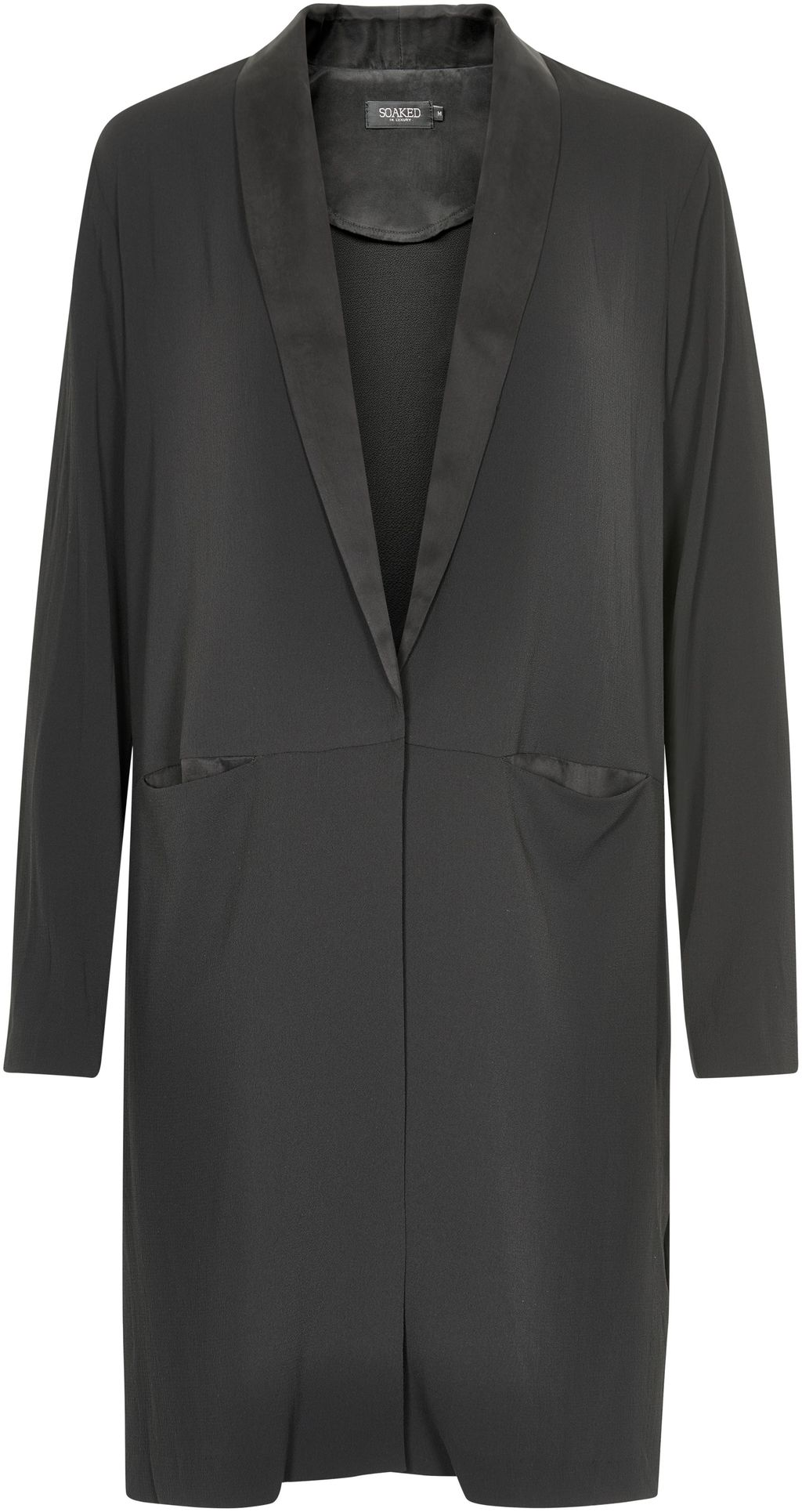 Long Jacket, Black - pattern: plain; style: single breasted blazer; fit: loose; collar: standard lapel/rever collar; length: above the knee; predominant colour: black; occasions: work, creative work; fibres: polyester/polyamide - 100%; sleeve length: long sleeve; sleeve style: standard; collar break: medium; pattern type: fabric; texture group: woven light midweight; season: s/s 2016