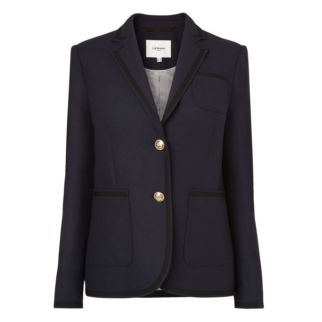 Louise Jackets, Blue - pattern: plain; style: single breasted blazer; length: below the bottom; collar: standard lapel/rever collar; predominant colour: navy; occasions: work, occasion; fit: tailored/fitted; fibres: wool - mix; sleeve length: long sleeve; sleeve style: standard; collar break: medium; pattern type: fabric; texture group: woven light midweight; season: s/s 2016; wardrobe: investment