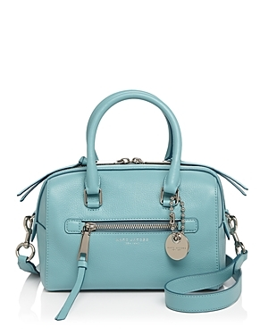 Bauletto Small Leather Satchel - predominant colour: pale blue; occasions: casual, creative work; type of pattern: standard; style: bowling; length: handle; size: standard; material: leather; pattern: plain; finish: plain; season: s/s 2016; wardrobe: highlight