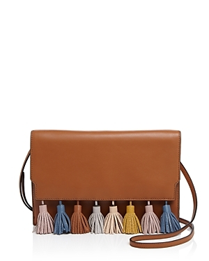 Sofia Convertible Clutch - predominant colour: tan; occasions: casual, creative work; type of pattern: standard; style: messenger; length: across body/long; size: standard; material: leather; embellishment: tassels; pattern: plain; finish: plain; season: s/s 2016; wardrobe: highlight