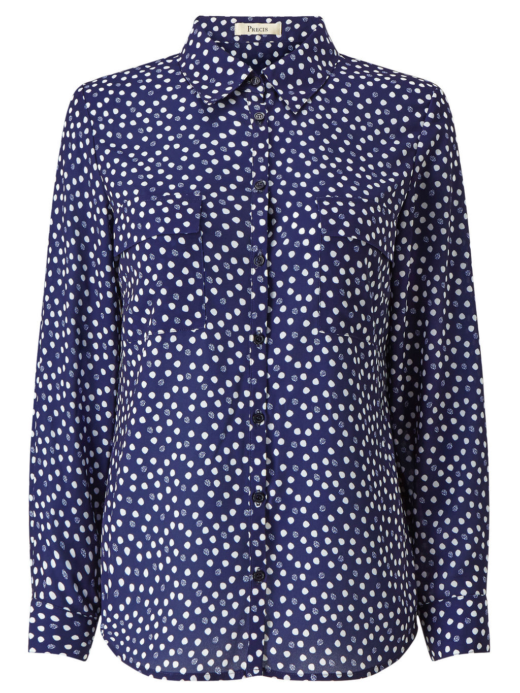 Ivy Spot Print Blouse - neckline: shirt collar/peter pan/zip with opening; style: shirt; pattern: polka dot; secondary colour: white; predominant colour: royal blue; occasions: casual; length: standard; fibres: polyester/polyamide - mix; fit: body skimming; sleeve length: long sleeve; sleeve style: standard; pattern type: fabric; pattern size: standard; texture group: other - light to midweight; multicoloured: multicoloured; season: s/s 2016