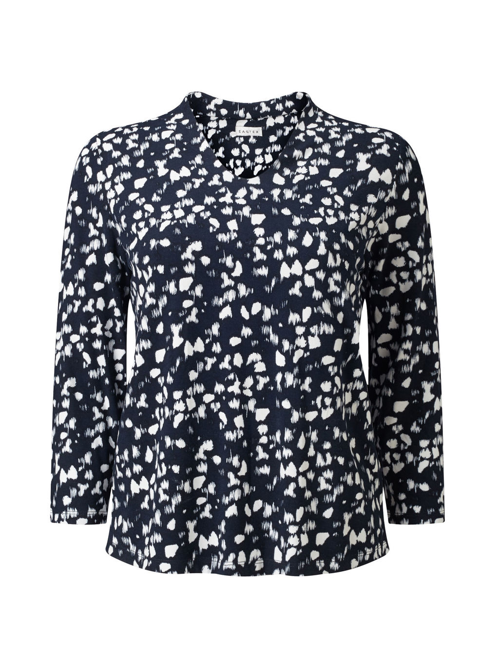 Monotone Jersey Top - neckline: v-neck; secondary colour: white; predominant colour: navy; occasions: casual; length: standard; style: top; fibres: viscose/rayon - stretch; fit: body skimming; sleeve length: long sleeve; sleeve style: standard; pattern type: fabric; pattern: patterned/print; texture group: jersey - stretchy/drapey; multicoloured: multicoloured; season: s/s 2016; wardrobe: highlight