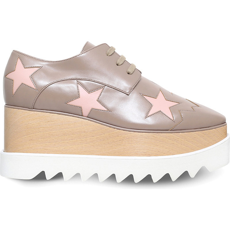 Elyse Stars Faux Leather Flatform Brogues, Women's, Eur 41 / 8 Uk Women, Brown - predominant colour: taupe; occasions: casual; material: leather; heel height: mid; heel: wedge; toe: round toe; finish: metallic; pattern: colourblock; style: lace ups; multicoloured: multicoloured; season: s/s 2016