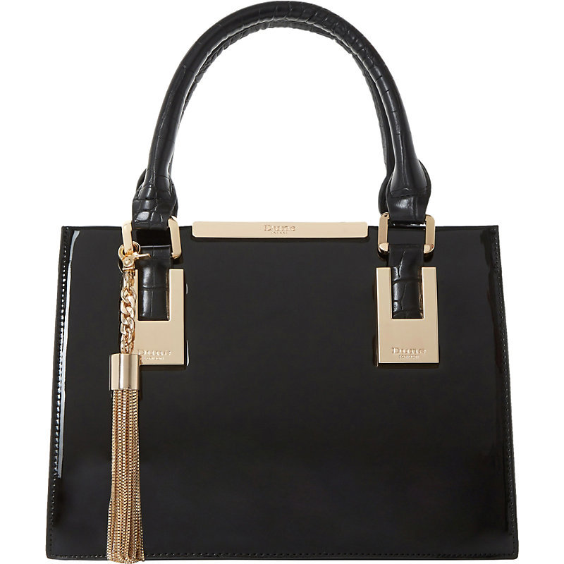 Dinideedee Patent Leather Mini Tote, Women's, Black Patent - secondary colour: gold; predominant colour: black; occasions: work, creative work; type of pattern: standard; style: tote; length: handle; size: standard; material: leather; pattern: plain; finish: patent; embellishment: chain/metal; season: s/s 2016; wardrobe: investment