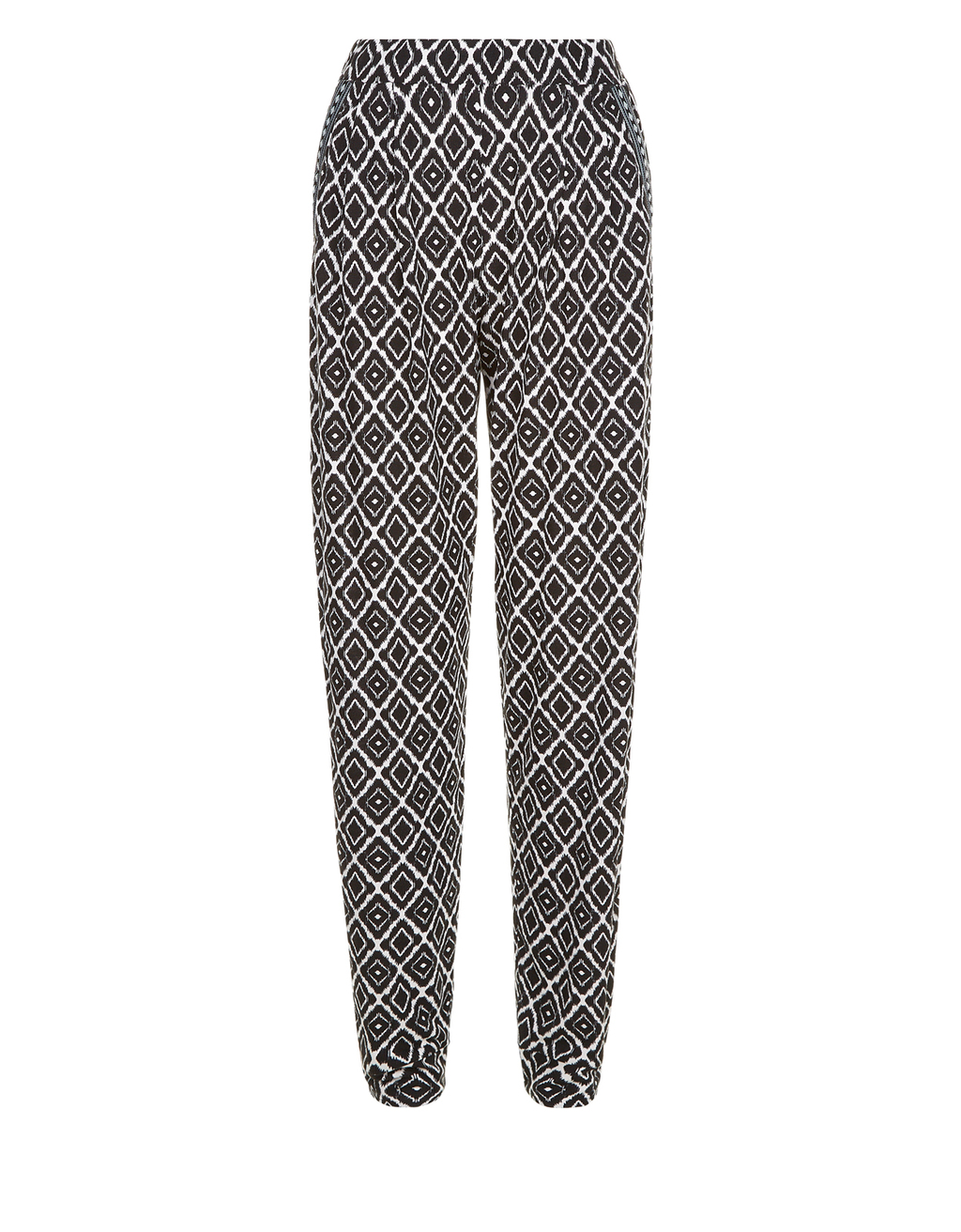 Annabelle Print Tapered Trouser - length: standard; style: harem/slouch; waist: mid/regular rise; secondary colour: white; predominant colour: black; occasions: casual; fibres: viscose/rayon - 100%; fit: tapered; pattern type: fabric; pattern: patterned/print; texture group: jersey - stretchy/drapey; multicoloured: multicoloured; season: s/s 2016; wardrobe: highlight