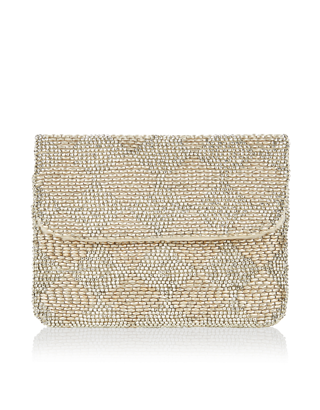 Luna Beaded Clutch Bag - predominant colour: gold; occasions: evening, occasion; type of pattern: standard; style: clutch; length: hand carry; size: standard; material: fabric; embellishment: beading; pattern: plain; finish: metallic; season: s/s 2016; wardrobe: event