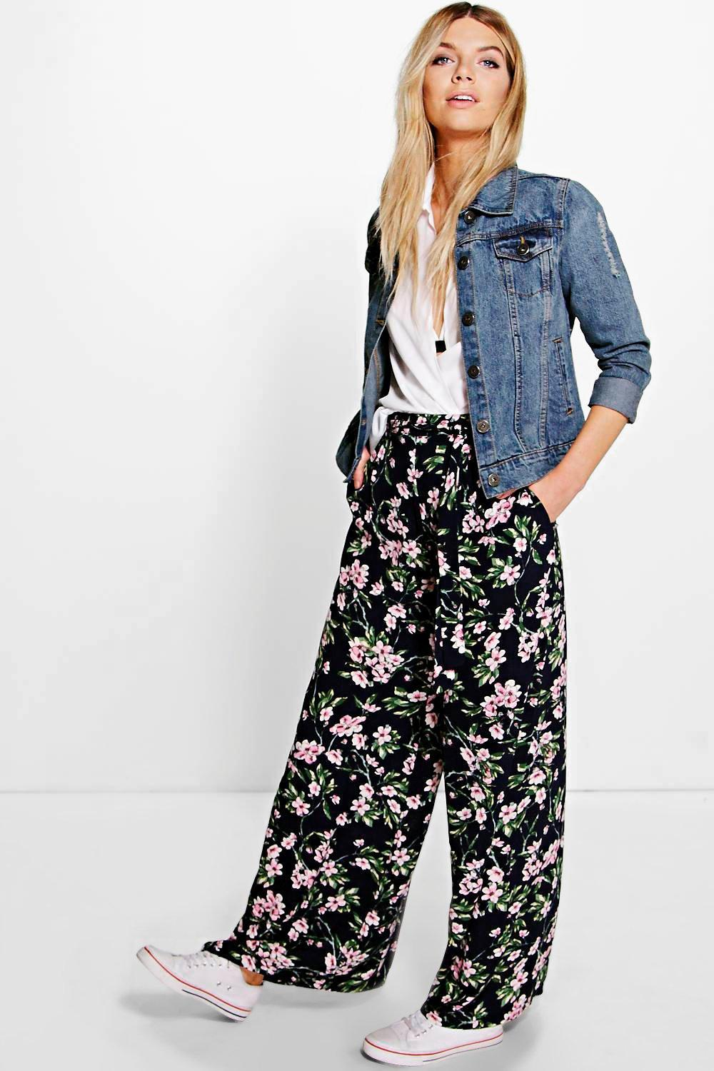 Belted Floral Wide Leg Trousers Multi - length: standard; style: palazzo; waist: mid/regular rise; secondary colour: blush; predominant colour: black; occasions: casual; fibres: polyester/polyamide - 100%; fit: wide leg; pattern type: fabric; pattern: florals; texture group: other - light to midweight; multicoloured: multicoloured; season: s/s 2016; wardrobe: highlight