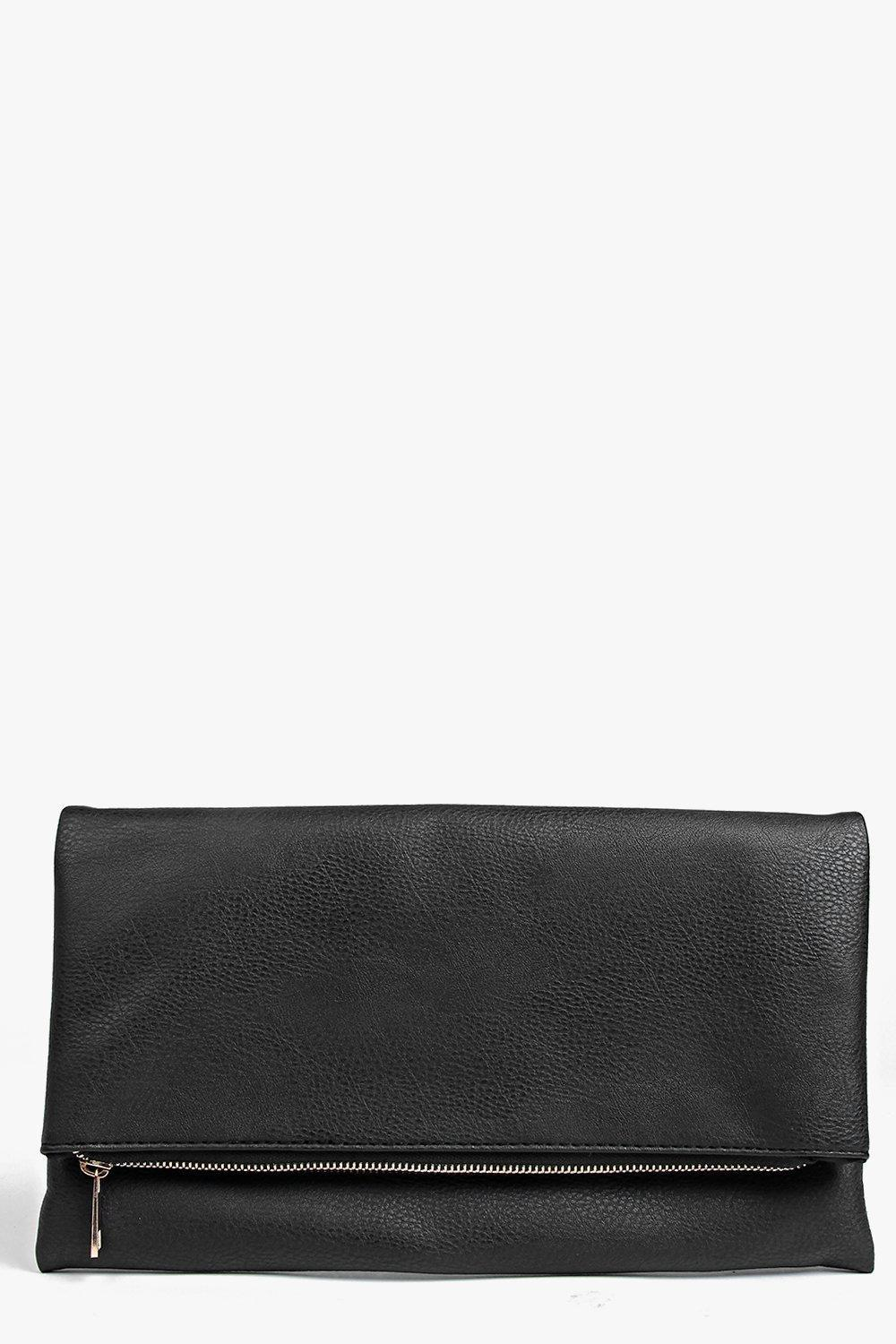 Fold Over Clutch Bag Black - predominant colour: black; occasions: evening, occasion; type of pattern: standard; style: clutch; length: hand carry; size: standard; material: faux leather; pattern: plain; finish: plain; season: s/s 2016; wardrobe: event