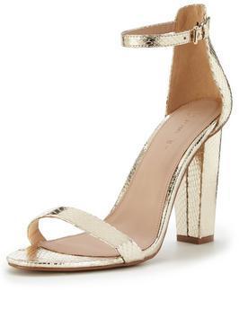 Petals Block Heel Sandal With Ankle Strap - predominant colour: gold; occasions: evening; material: faux leather; heel height: high; ankle detail: ankle strap; heel: standard; toe: open toe/peeptoe; style: strappy; finish: metallic; pattern: plain; season: s/s 2016