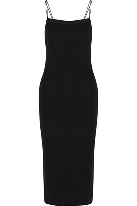 Stretch Jersey Midi Dress Black - length: below the knee; sleeve style: spaghetti straps; fit: tight; pattern: plain; style: bodycon; predominant colour: black; occasions: evening; neckline: scoop; fibres: viscose/rayon - 100%; sleeve length: sleeveless; texture group: jersey - clingy; pattern type: fabric; season: s/s 2016; wardrobe: event