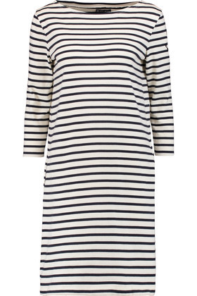 Striped Cotton Mini Dress Off White - style: t-shirt; pattern: horizontal stripes; predominant colour: white; secondary colour: black; occasions: casual; length: just above the knee; fit: body skimming; fibres: cotton - 100%; neckline: crew; sleeve length: 3/4 length; sleeve style: standard; pattern type: fabric; texture group: jersey - stretchy/drapey; multicoloured: multicoloured; season: s/s 2016; wardrobe: basic