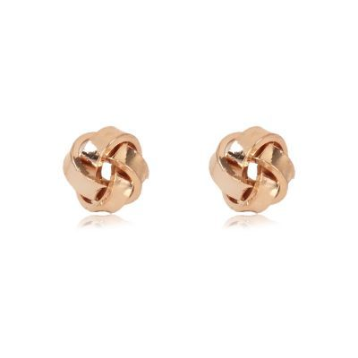 Womens Rose Gold Tone Knot Stud Earrings - predominant colour: gold; occasions: casual, work, creative work; style: stud; length: short; size: small/fine; material: chain/metal; fastening: pierced; finish: metallic; season: s/s 2016; wardrobe: basic