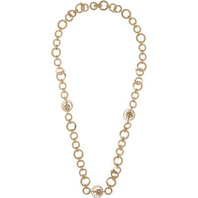 Womens Gold Tone Circle Chain Necklace - predominant colour: gold; occasions: casual, creative work; length: mid; size: standard; material: chain/metal; finish: metallic; season: s/s 2016; wardrobe: basic; style: chain (no pendant)